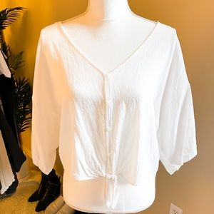 White Button Tie-Front Top